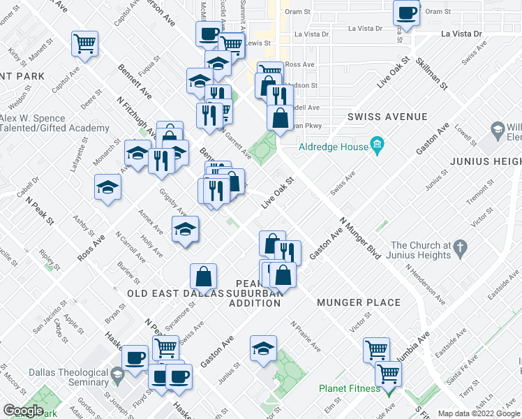 map of restaurants, bars, coffee shops, grocery stores, and more near Live Oak Street &am