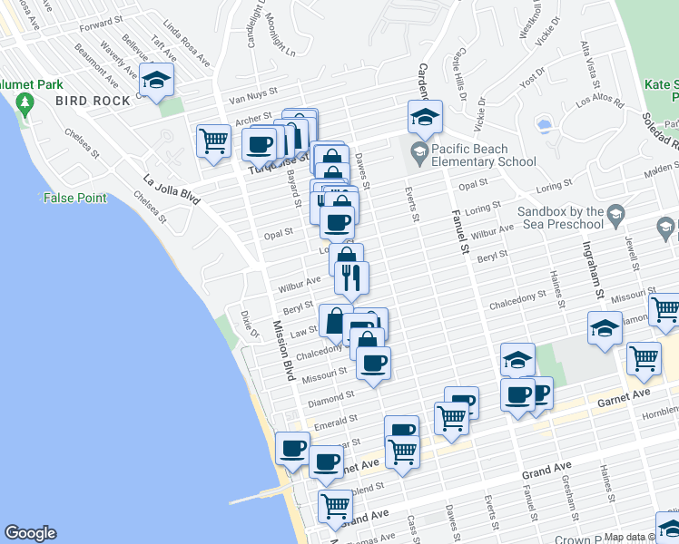 map of restaurants, bars, coffee shops, grocery stores, and more near 964 Wilbur Ave in San Diego