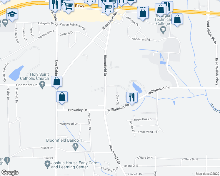 map of restaurants, bars, coffee shops, grocery stores, and more near 3148 Bloomfield Drive in Macon