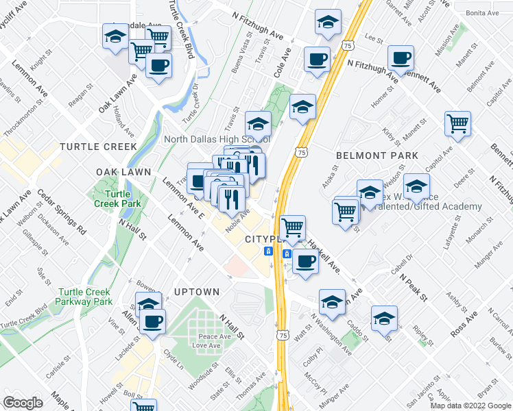 map of restaurants, bars, coffee shops, grocery stores, and more near 3021-3047 Blackburn Street in Dallas