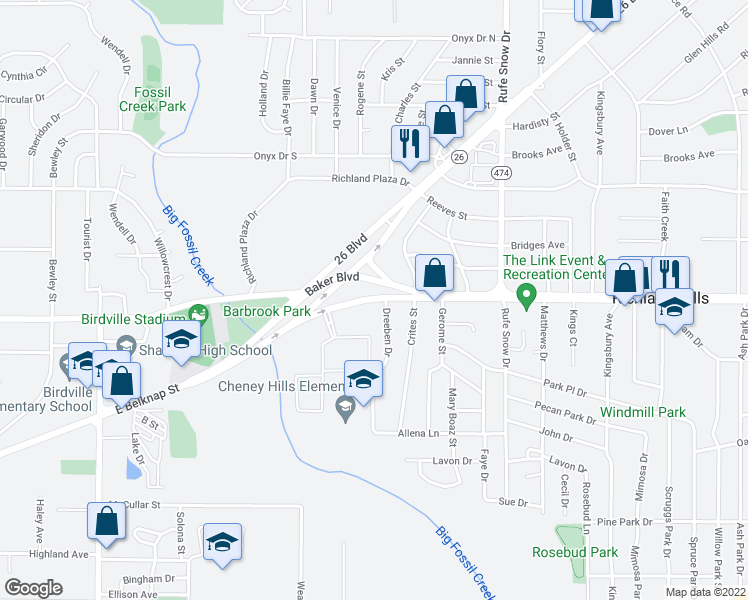 map of restaurants, bars, coffee shops, grocery stores, and more near 6350 Baker Boulevard in Richland Hills