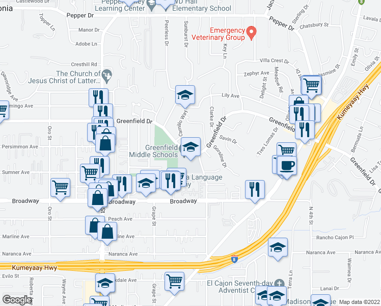 map of restaurants, bars, coffee shops, grocery stores, and more near 1494 Greenfield Dr in El Cajon