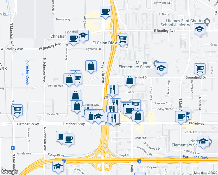 map of restaurants, bars, coffee shops, grocery stores, and more near 1237 Graves Ave in El Cajon