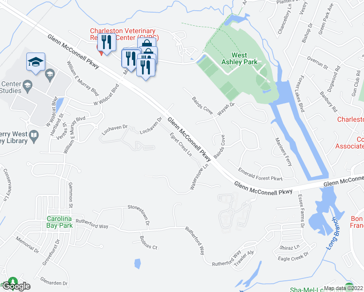 map of restaurants, bars, coffee shops, grocery stores, and more near 2427 Egret Crest Lane in Charleston