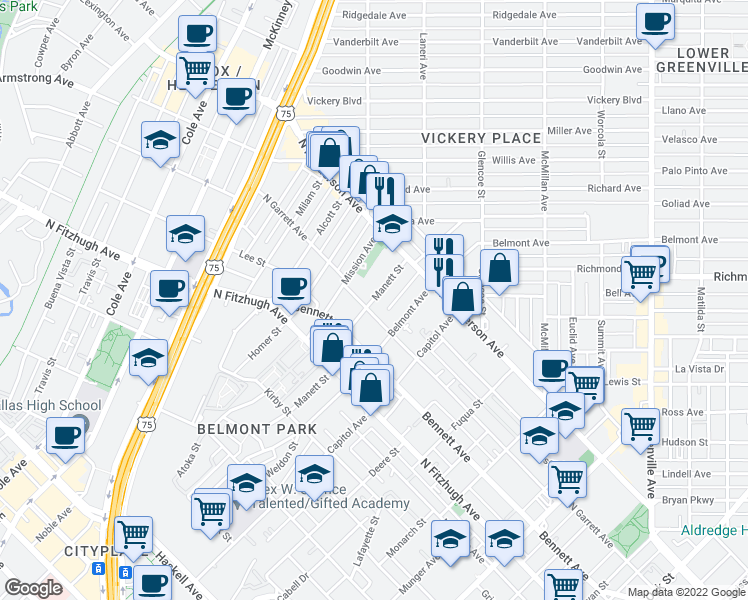 map of restaurants, bars, coffee shops, grocery stores, and more near 5110 Manett St in Dallas
