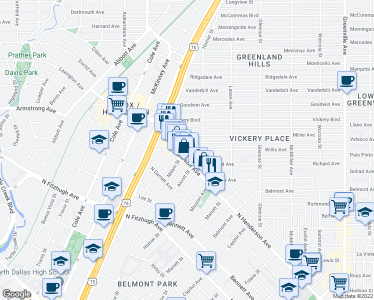 map of restaurants, bars, coffee shops, grocery stores, and more near 5140 Willis Ave in Dallas