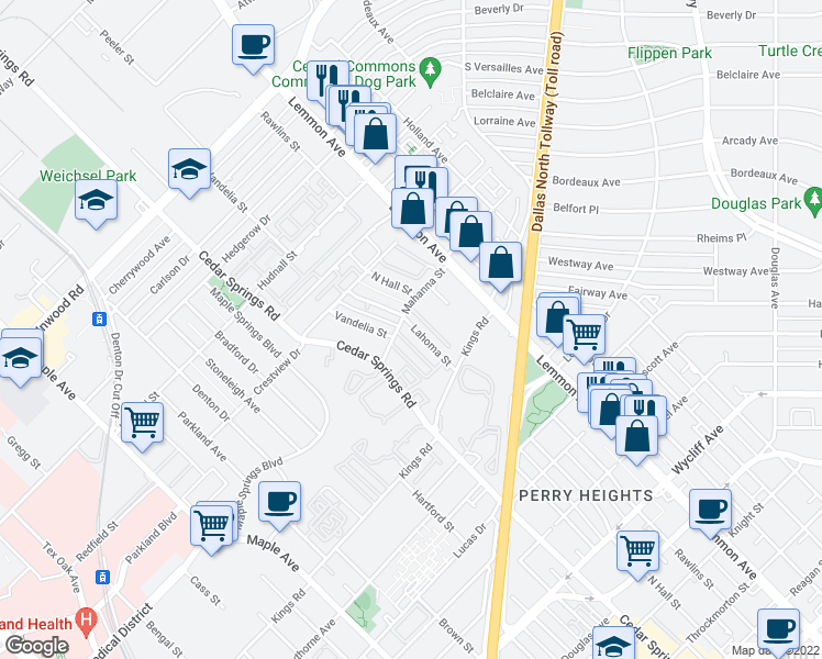 map of restaurants, bars, coffee shops, grocery stores, and more near 5005 N Hall St in Dallas