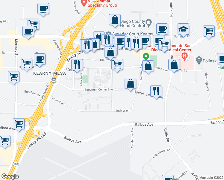 map of restaurants, bars, coffee shops, grocery stores, and more near Spectrum Center Blvd in San Diego