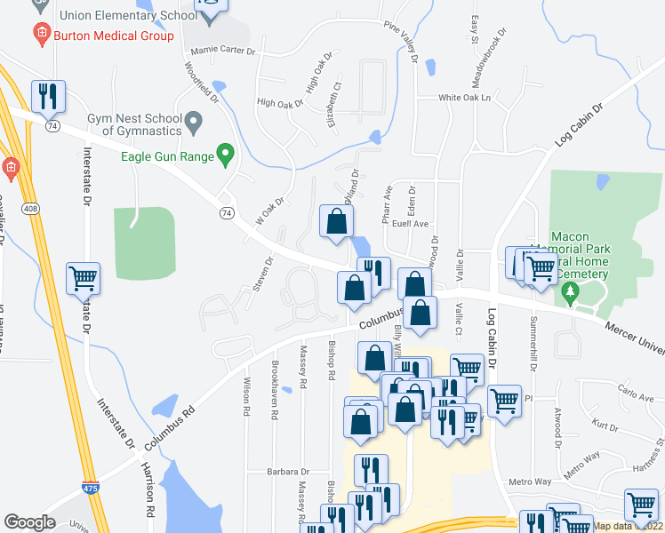 map of restaurants, bars, coffee shops, grocery stores, and more near 4671 Mercer University Drive in Macon