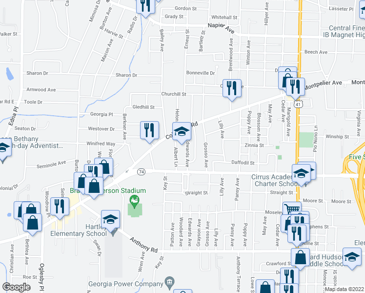 map of restaurants, bars, coffee shops, grocery stores, and more near 370 Albert Lane in Macon