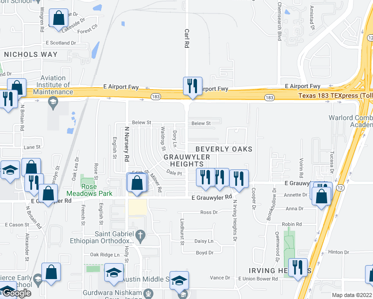 map of restaurants, bars, coffee shops, grocery stores, and more near 1916 N Irving Heights Dr in Irving