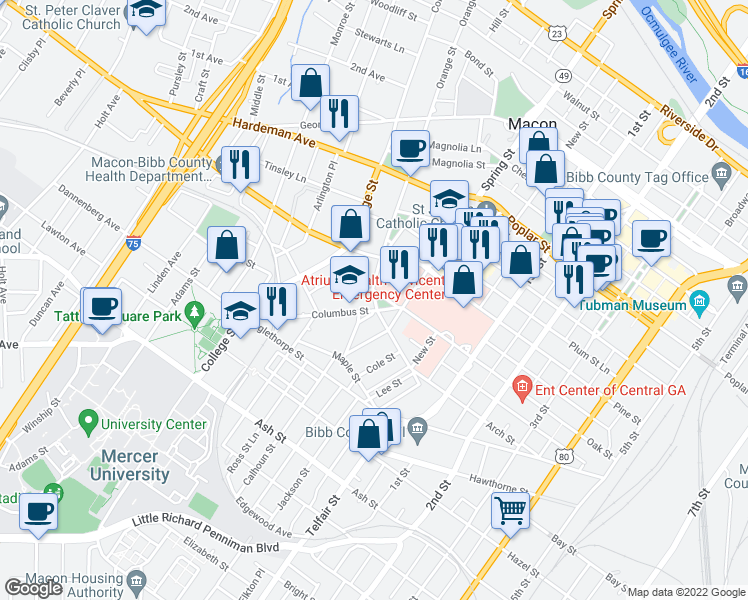 map of restaurants, bars, coffee shops, grocery stores, and more near 879 Rose Park in Macon