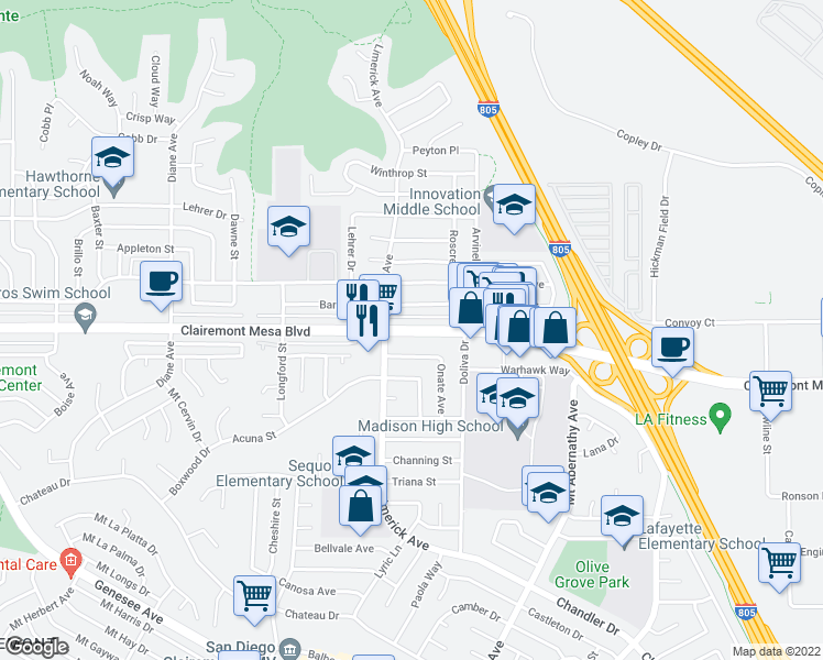 map of restaurants, bars, coffee shops, grocery stores, and more near 5265 Clairemont Mesa Boulevard in San Diego