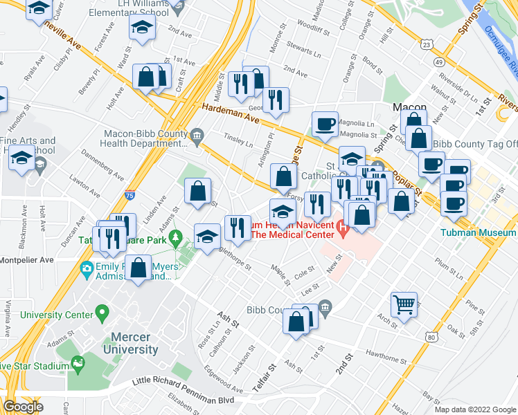 map of restaurants, bars, coffee shops, grocery stores, and more near 756 College Street in Macon