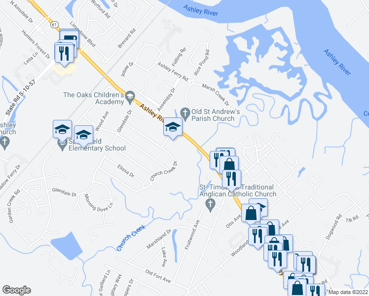 map of restaurants, bars, coffee shops, grocery stores, and more near 1900 Ashley River Rd in Charleston