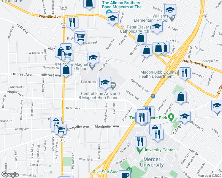 map of restaurants, bars, coffee shops, grocery stores, and more near Lawton Ave in Macon