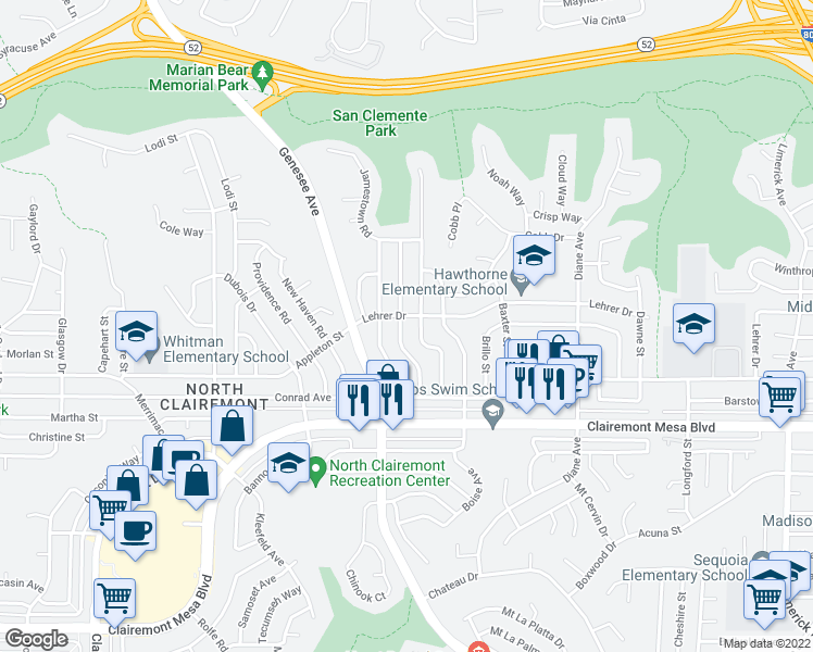 map of restaurants, bars, coffee shops, grocery stores, and more near 5071 Rebel Road in San Diego