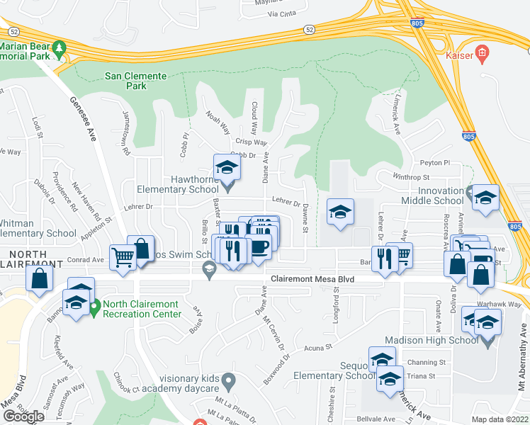 map of restaurants, bars, coffee shops, grocery stores, and more near Diane Ave & Aberdeen St in San Diego