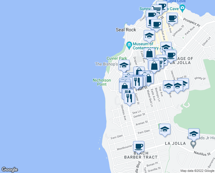 map of restaurants, bars, coffee shops, grocery stores, and more near 220 Coast Blvd in La Jolla