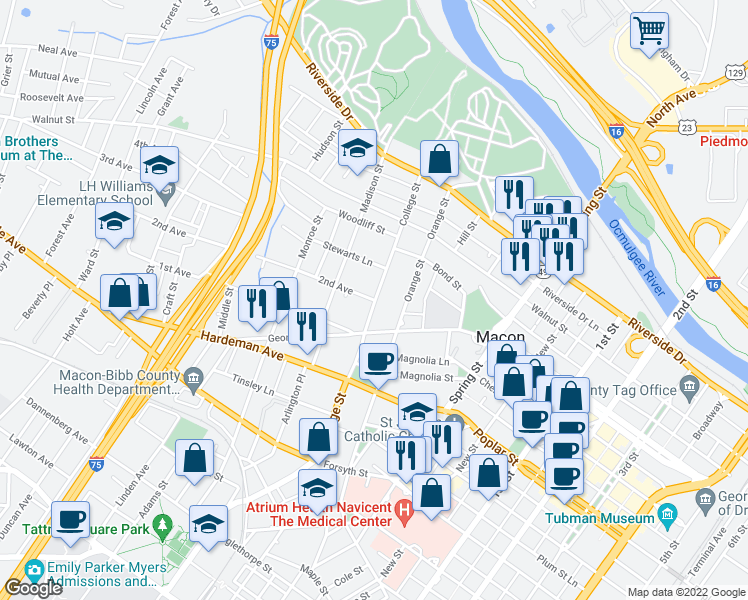 map of restaurants, bars, coffee shops, grocery stores, and more near 347 College Street in Macon