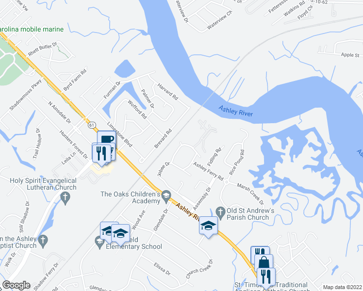 map of restaurants, bars, coffee shops, grocery stores, and more near 2315-2323 Treescape Drive in Charleston