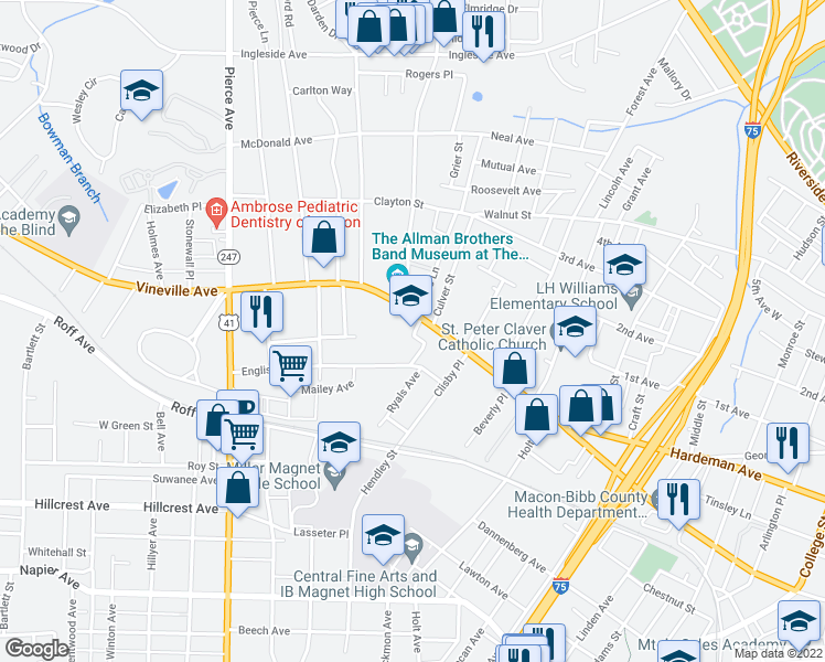 map of restaurants, bars, coffee shops, grocery stores, and more near 2201-2345 English Ave in Macon