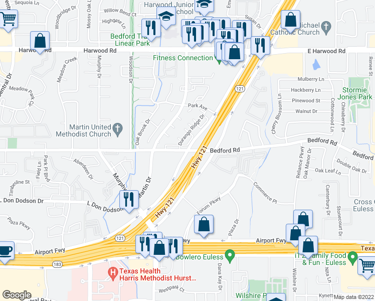 map of restaurants, bars, coffee shops, grocery stores, and more near Hwy 121 & Bedford Rd in Bedford