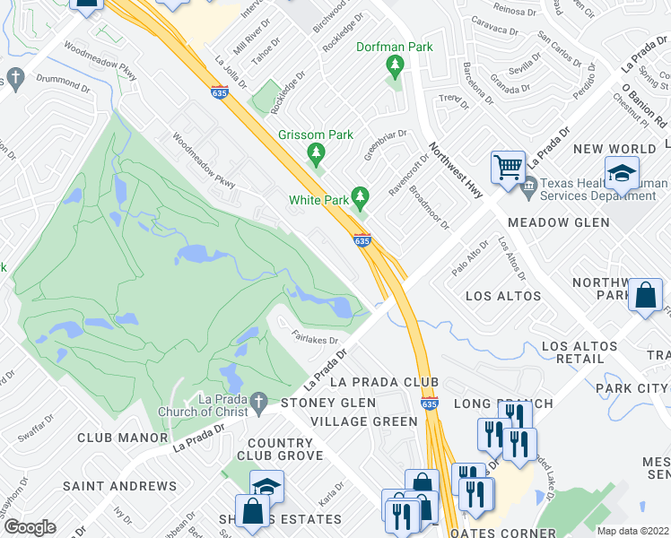 map of restaurants, bars, coffee shops, grocery stores, and more near 10700 Woodmeadow Parkway in Dallas
