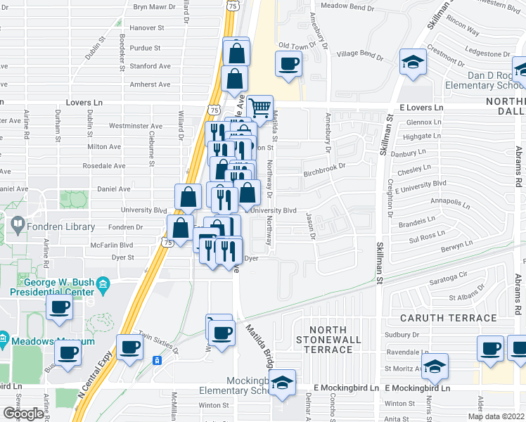 map of restaurants, bars, coffee shops, grocery stores, and more near Northway in Dallas