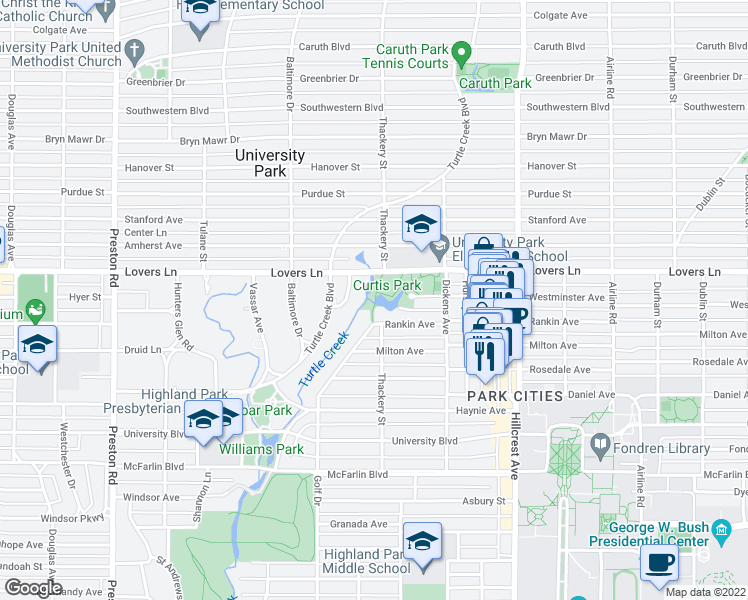 map of restaurants, bars, coffee shops, grocery stores, and more near in University Park