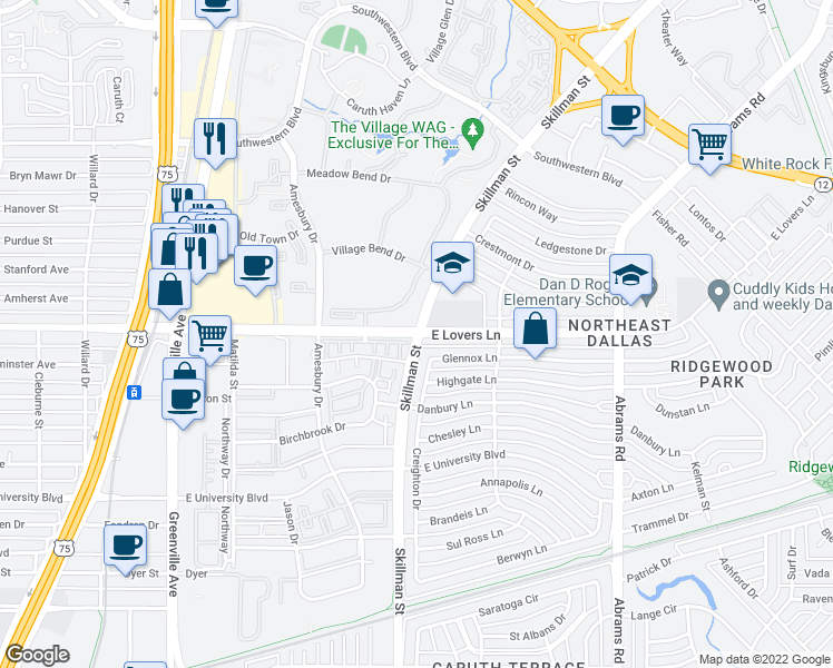 map of restaurants, bars, coffee shops, grocery stores, and more near Skillman Street & East Lovers Lane in Dallas