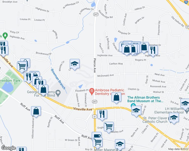 map of restaurants, bars, coffee shops, grocery stores, and more near 330 Pierce Avenue in Macon
