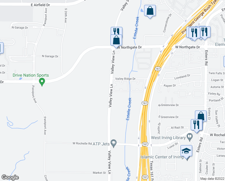 map of restaurants, bars, coffee shops, grocery stores, and more near 4900 Valley Ridge Drive in Irving