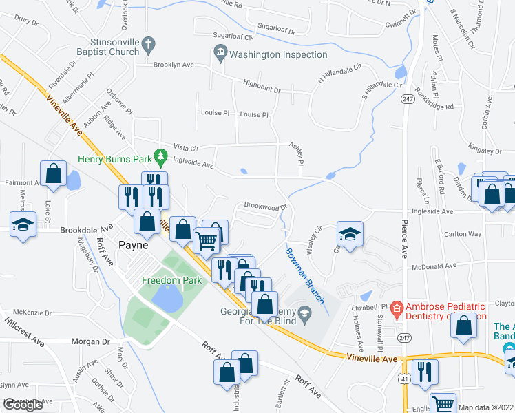 map of restaurants, bars, coffee shops, grocery stores, and more near 3163 Brookwood Drive in Macon