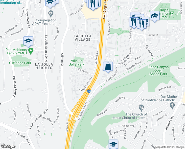 map of restaurants, bars, coffee shops, grocery stores, and more near Via Sonoma & Via Marin in San Diego