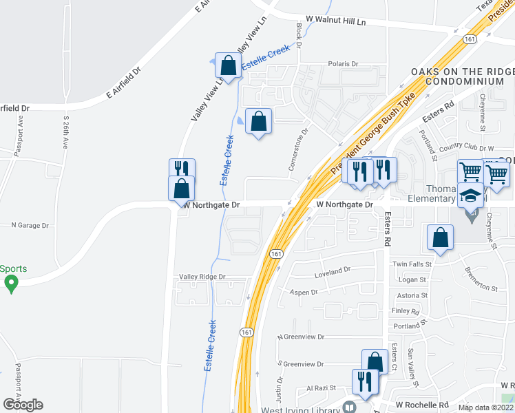 map of restaurants, bars, coffee shops, grocery stores, and more near 4441-4555 W Northgate Dr in Irving