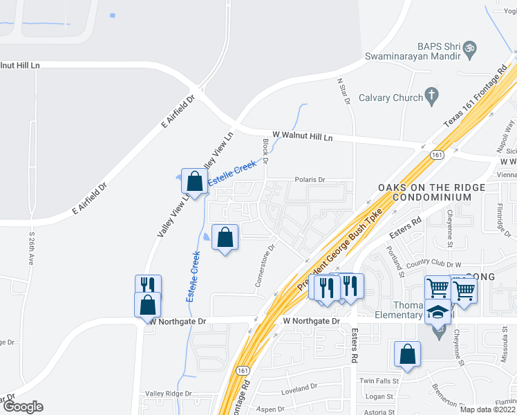 map of restaurants, bars, coffee shops, grocery stores, and more near 4023 Block Dr in Irving