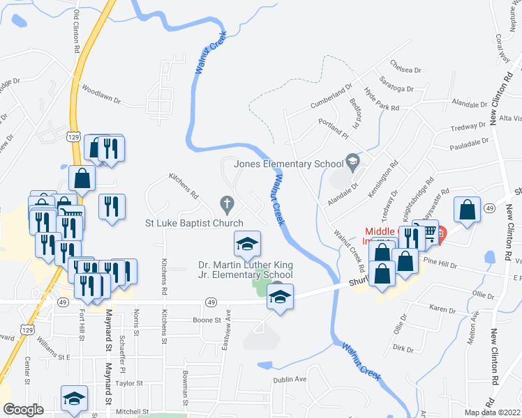 map of restaurants, bars, coffee shops, grocery stores, and more near 1215 Creekwood Drive in Macon
