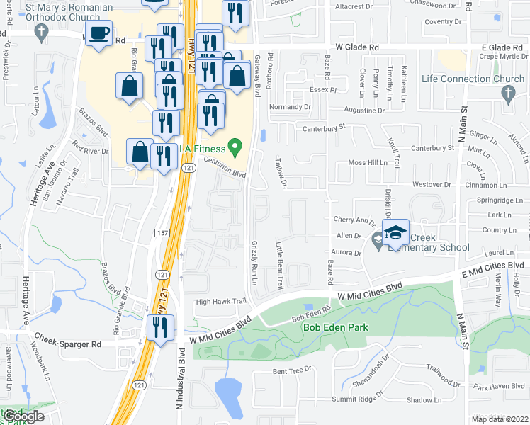 map of restaurants, bars, coffee shops, grocery stores, and more near 2507 Kodiak Circle in Euless