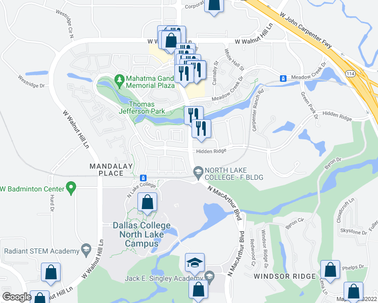 map of restaurants, bars, coffee shops, grocery stores, and more near 1002-1098 Hidden Ridge in Irving