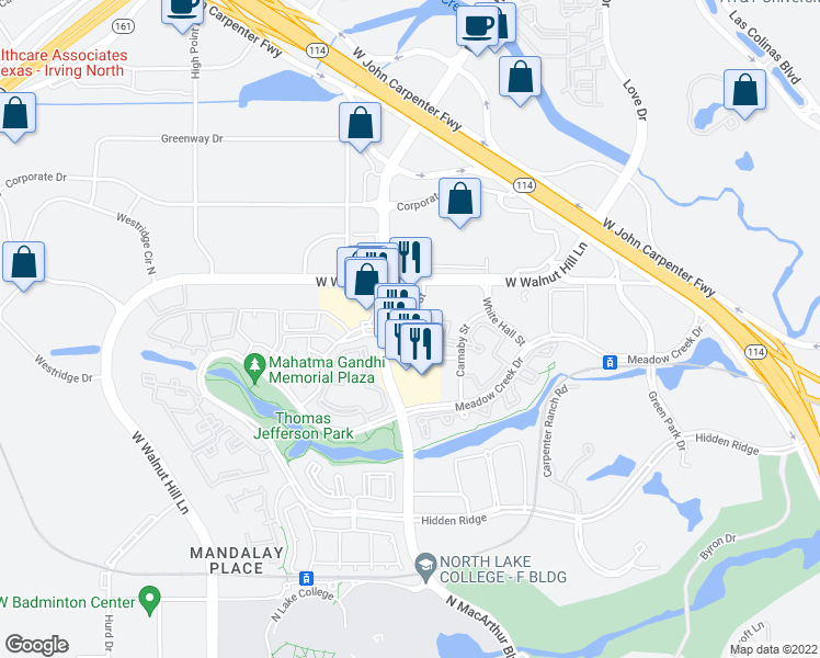 map of restaurants, bars, coffee shops, grocery stores, and more near 5342 Bond Street in Irving