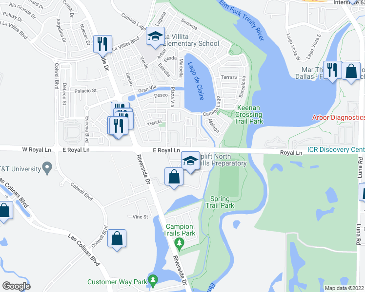 map of restaurants, bars, coffee shops, grocery stores, and more near 625 East Royal Lane in Irving