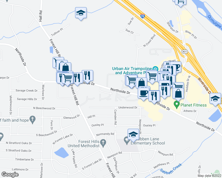 map of restaurants, bars, coffee shops, grocery stores, and more near 3900 Ashley Woods Drive in Macon