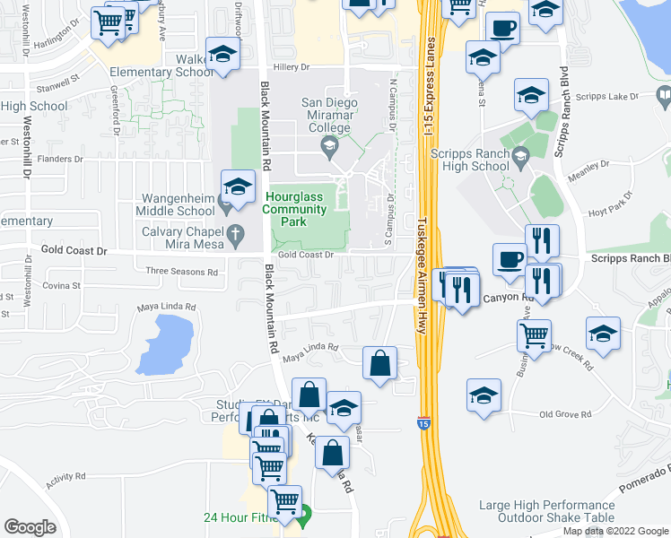 map of restaurants, bars, coffee shops, grocery stores, and more near 9504-9574 Gold Coast Dr in San Diego