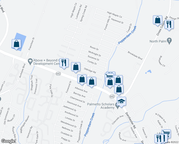 map of restaurants, bars, coffee shops, grocery stores, and more near 7675 Valleyview Cir in Charleston