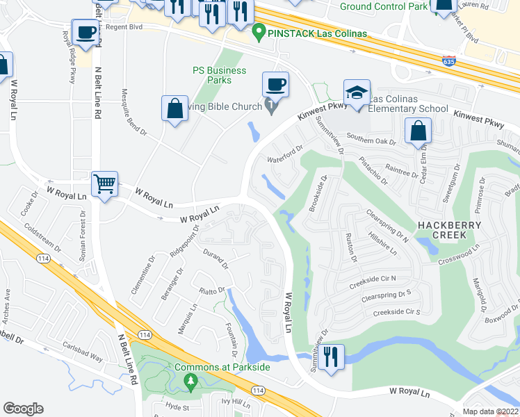 map of restaurants, bars, coffee shops, grocery stores, and more near 2901-2999 West Royal Lane in Irving