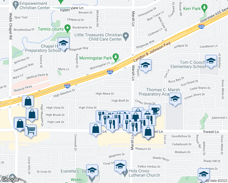 map of restaurants, bars, coffee shops, grocery stores, and more near 3565 High Mesa Drive in Dallas
