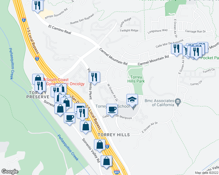 map of restaurants, bars, coffee shops, grocery stores, and more near 11055-11087 W Ocean Air Dr in San Diego
