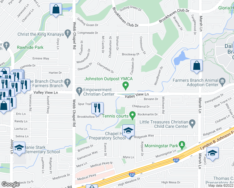 map of restaurants, bars, coffee shops, grocery stores, and more near 3321 Chaparral Drive in Farmers Branch