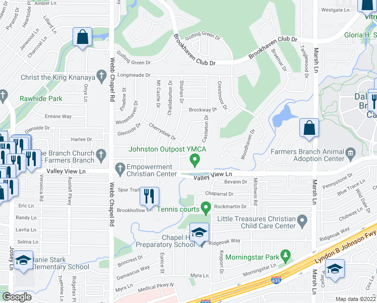 map of restaurants, bars, coffee shops, grocery stores, and more near 13206 Castleton Drive in Farmers Branch